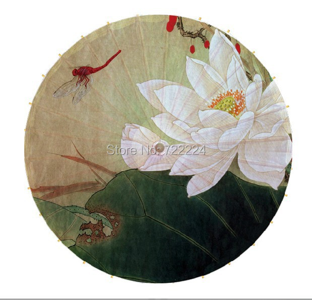 Free shipping Dia84cm white lotus with flydragon chinese traditional handmade parasol waterproof dance gift oiled paper umbrella free shipping 2pcsset traditional