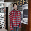 Men Wholesale Fashion Disconnected Sleeve Red Casual Cotton Oversized Loose Plaid Rivet Shirts
