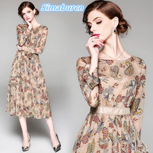 Europe Brand Spring Elegant Women Chiffon Printed Dress Long Sleeve O-Neck A-Line Zippers Dresses Party Lady Casual Autumn