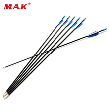 6/12/24 pcs 31 Inches Fiberglass Arrow Spine 700 Blue White Feather for Recurve Bow Archery Hunting Shooting