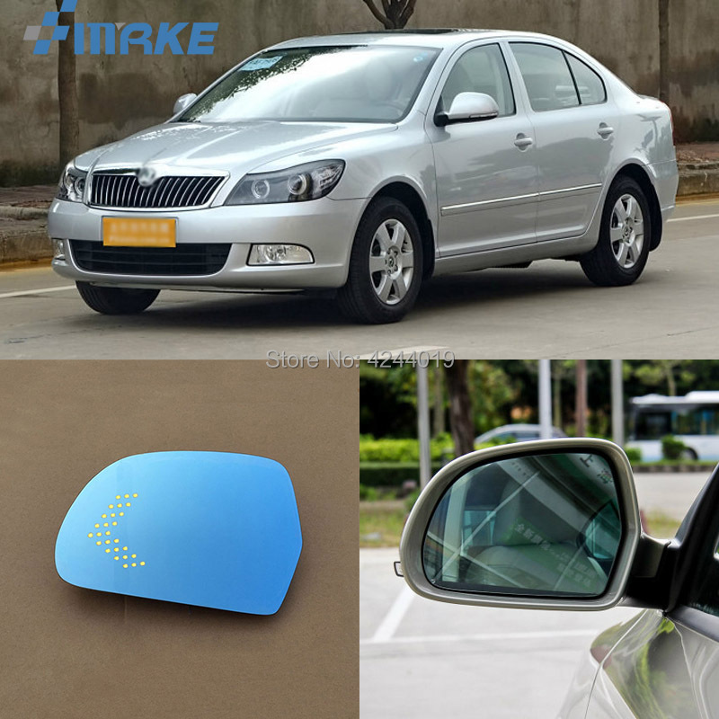 smRKE For Skoda Octavia 13-14 Car Rearview Mirror Wide Angle Hyperbola Blue Mirror Arrow LED Turning Signal Lights