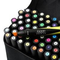 60 Цвета ручка для Дизайн жирной двойной головкой Книги по искусству набор маркеров Twin Tip Графическое Искусство Набор Эскиз широкий тонкий п