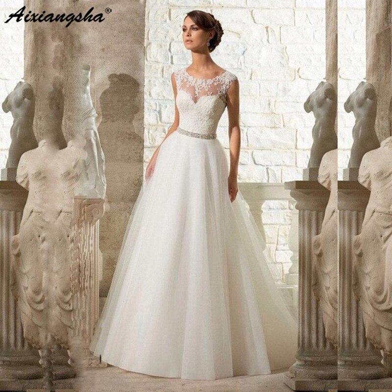 Cheap A-Line Lace Appliques Wedding Dress 2019 Vintage Plus Size Vestido De Novia With Beading Button Sash Sexy Robe De Mariage