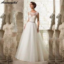 Einfache A Line Spitze Appliques Hochzeit Kleid Vintage Plus Größe Vestido De Novia mit Perlen Kristall Schärpe Sexy Robe De Mariage