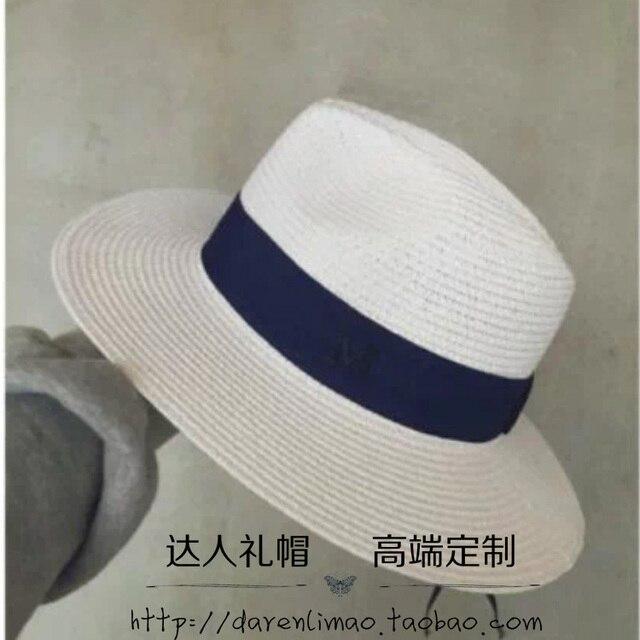Новая коллекция весна и лето М стандартный белый чистый цвет соломы шляпа Занг голубой лентой Сэр Пн вс шляпу пляж шляпа уф защита