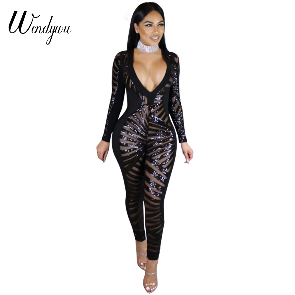 Wendywu Hot Sale Sexy Deep V-Neck Long Sleeve Sequined Black Bodycon Jumpsuit for Women Club