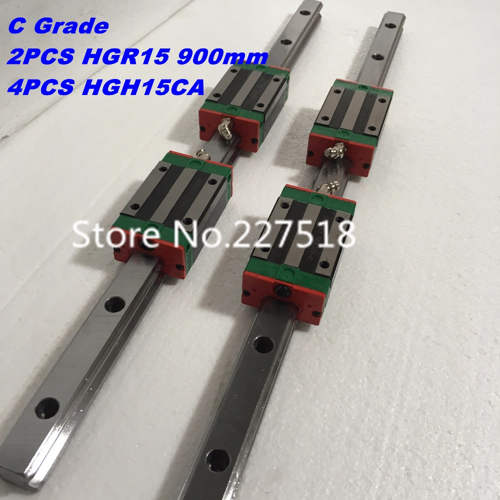 15mm Type 2pcs HGR15 Linear Guide Rail L900mm rail + 4pcs carriage Block HGH15CA blocks for cnc router thk interchangeable linear guide 1pc trh25 l 900mm linear rail 2pcs trh25b linear carriage blocks