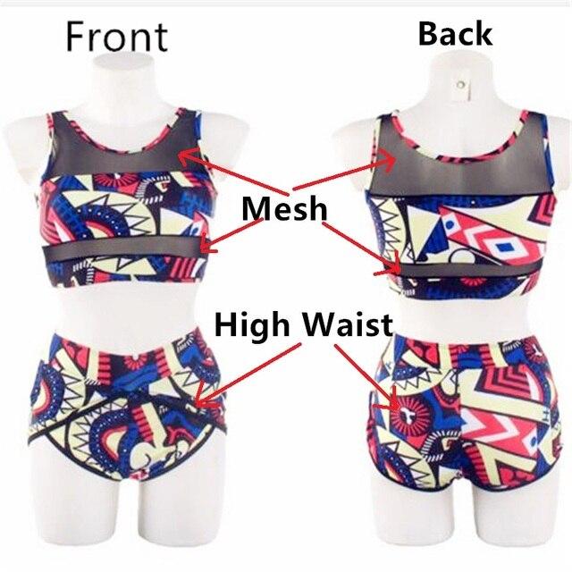 Plus Size Bikini Swimwear Women High Waisted Bikinis Set 2020 Mujer Swimsuit African Print 2 Pieces Tankini Bandeau Swim Suit 6