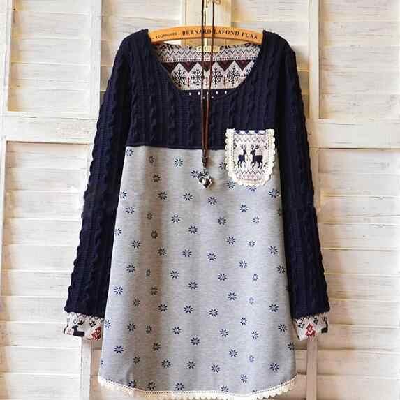 Hiver Mori fille grande taille tunique chaude col rond Dot imprimé Floral femme T-Shirts manches longues Vintage doux hauts M-4XL AF960