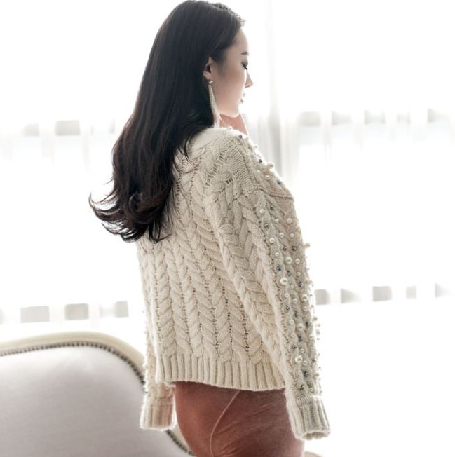 Spring new v-neck beaded loose coarse lines Cable Knit cardigan sweater jacket female fashion casual short shirt