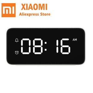 Image 2 - Xiao mi Xiaoai Smart Trasmissione Di voce Di allarme Orologio Da Tavolo ABS Dersktop Orologi AutomaticTime Lavoro di calibrazione Con mi casa app