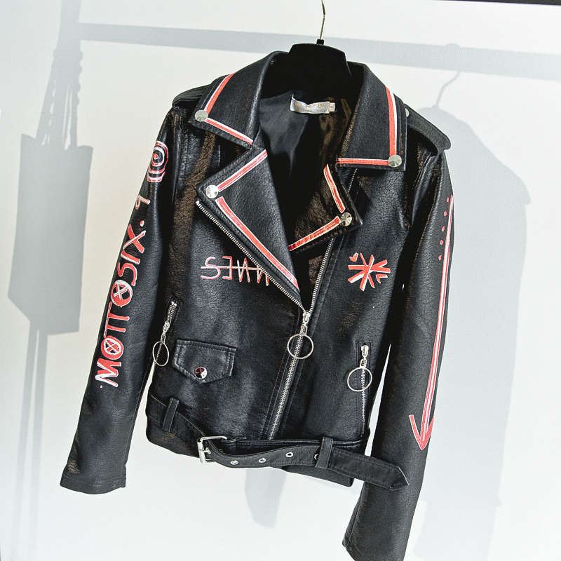 2018 New Women Punk Party Street Letter Printing   Leather   Jacket Black Beading Long Sleeve Motorcycle letter Rock Coat