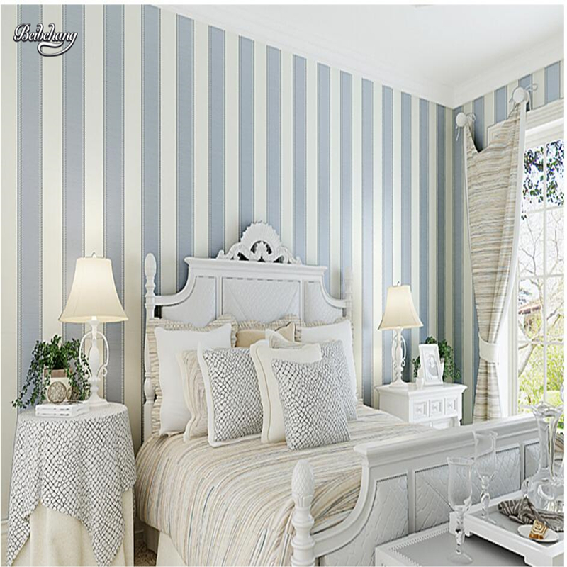 beibehang Simple modern vertical striped nonwoven fabric 3d 3d relief flocking living room bedroom background wallpaper
