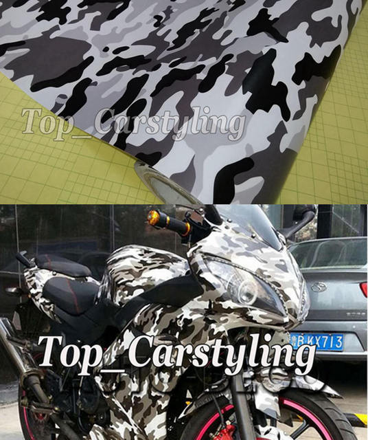 Xcm Black White Grey Snow Camo Vinyl For Motorcycle Car - Vinyl for motorcycle