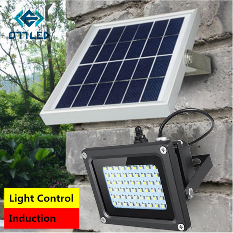 Solar LED Floodlight/ Spotlight/street Light IP65 Waterproof 54LED Motion Sensor ON/OFF Outdoor Light for Wall Road Solar Lamp boruit 65led outdoor solar light 1500lm motion sensor solar spotlight remote ip65 waterproof wall lamp home security night light