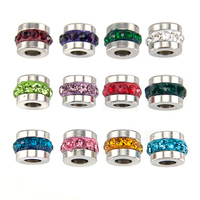 Simsimi 60pcs (Jan Dec. 12x5pcs) zodiac Birth lucky stones 12 colors charm 6mm slide charm bead stainless steel jewelry mix