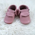 Dark Pink Infant First Walker cow Leather Baby Moccasins with Red Sole