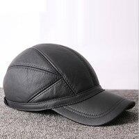 Leather Hat Men's Genuine Leather Baseball Cap Middle aged Elderly Male Korean Cowhide Winter Warm Leisure Fashion Hats H6982