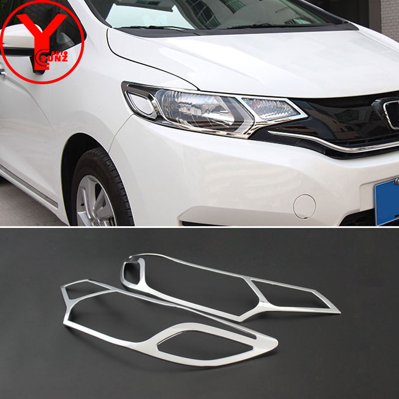 YCSUNZ ABS head light cover For <font><b>Honda</b></font> <font><b>fit</b></font> jazz <font><b>2015</b></font> <font><b>2016</b></font> ABS chrome headlight for <font><b>honda</b></font> <font><b>fit</b></font> <font><b>2015</b></font> <font><b>2016</b></font> 2017 accessories cars image