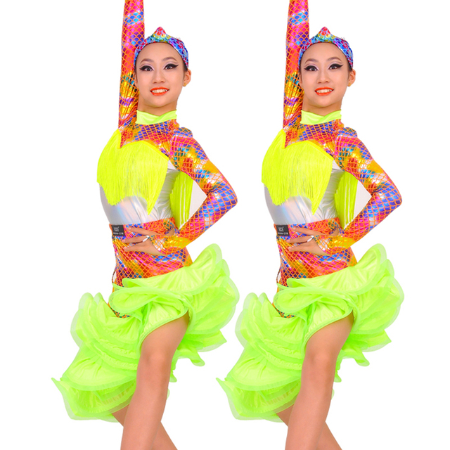 New! Kids Dresses For Girls 2019 Neon Yellow Long Sleeve Tango Ballroom Practice Clothes Stage Dance Costume Latin Dress BL1647