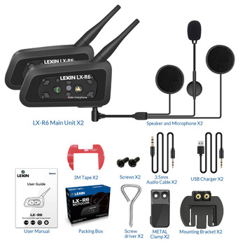 With Metal Clip! Lexin 6 Riders R6-1200M BT Interfone Motorcycle Helmet Bluetooth Intercom Walkie Talkie Headset Moto