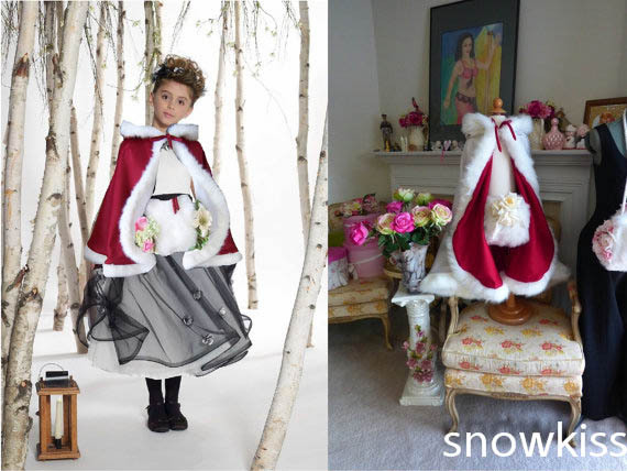 цена на Red Wine Hip Length Girls Cape Ivory/White Wedding Cloaks Faux Fur  Jacket For Winter Kid Flower Girl Children Outerwear & Coats