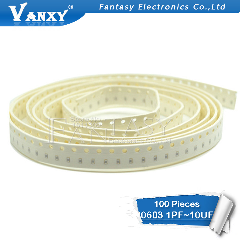 100pcs 0603 50V SMD Thick Film Chip Multilayer Ceramic Capacitor 0.5pF-22uF 10NF 100NF 1UF 2.2UF 4.7UF 10UF 1PF 6PF
