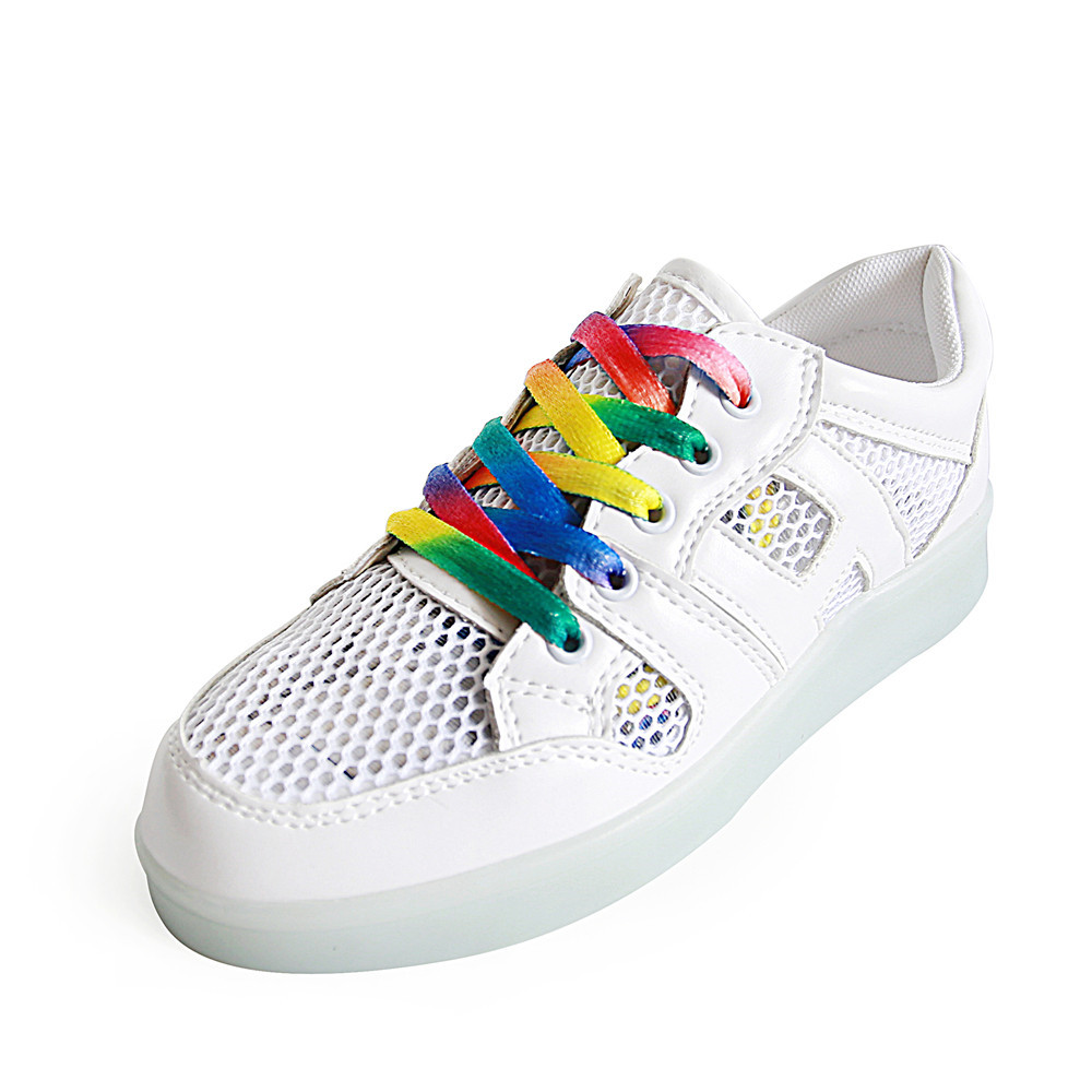 2016 Summer font b Women b font Light up Shoes Casual Led Shoes Rainbow Lace Breathable