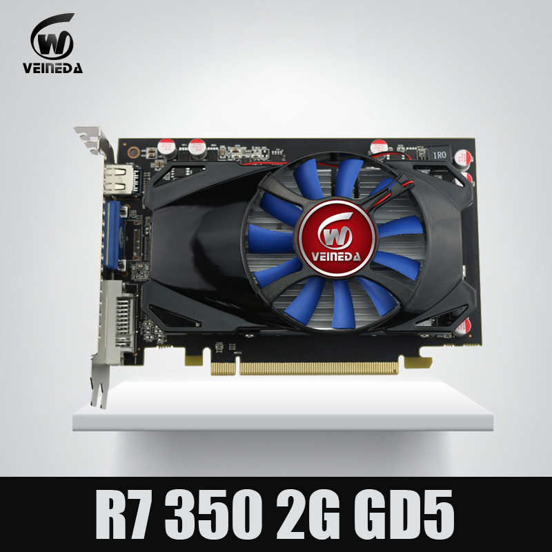 Original Desktop GPU Graphics Card Veineda R7 350 2GB GDDR5 128Bit Independent Game Video Card R7-350 for ATI Radeon gaming new for msi ms 16f1 16f2 16f3 1656 1727 notebook pc graphics video card ati mobility radeon hd 5870 hd5870 1gb gddr5 drive case