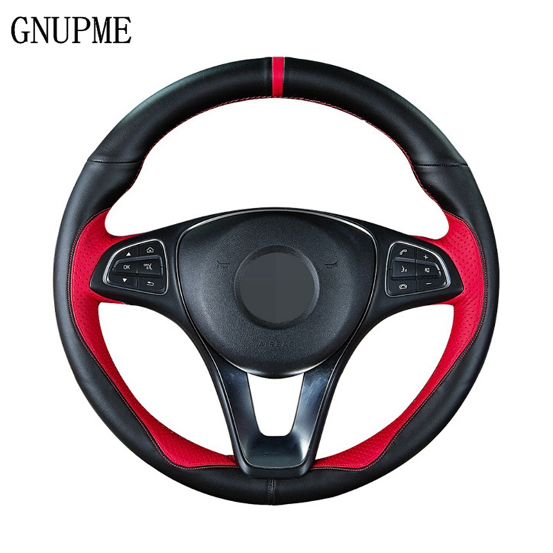 Genuine Leather DIY Red With Needle And Thread Car Steering Wheel Cover for Mercedes Benz E-Class W210 E320 GLA200 GLK300/260