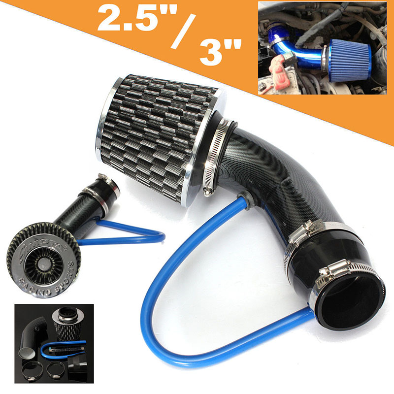 JX-LCLYL Universal Car Racing Cold Air Intake Filter Aluminum Pipe Power Flow Hose Kit universal racing carbon fiber cold feed induction kit carbon fiber air intake kit air filter box with fan