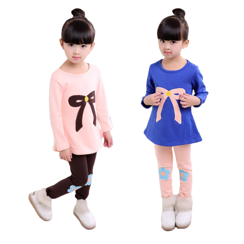 2 3 4 5 6 7 8 9 Year Girls Clothes Thick Warm Winter Children Clothing Set Long Sleeve Bow Shirts Flower Pants  Kids Suits fall halloween clothes cutest pumpkin short sleeve orange black sequins suit children boutique long pants with matching bow set