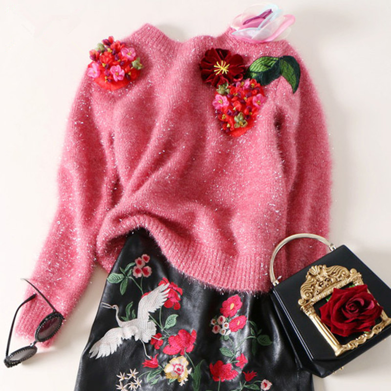 Свитер из хлопка и ацетата, Новое поступление, пуловеры, весна 2018, вязанные, объемная вышивка, индивидуальность