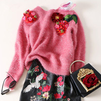 Sweater Cotton Acetate Real New Arrival And Pullovers 2018 Spring Knitting Hedging Three dimensional Embroidered Personality