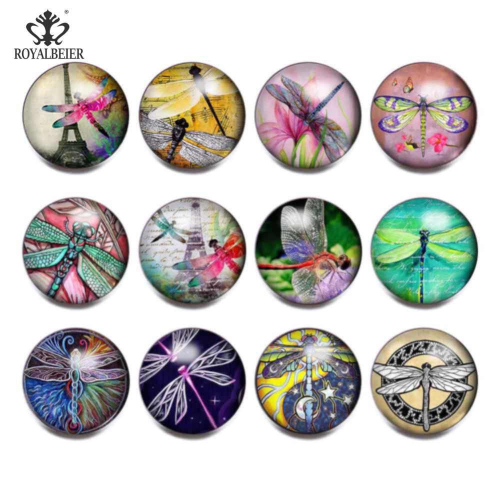RoyalBeier 12 sztuk/partia mieszane 18MM Cartoon upiększyć Dragonfly okrągłe szkło Cabochon przystawki przycisk Fit DIY kobiety Snap bransoletki KZ0805
