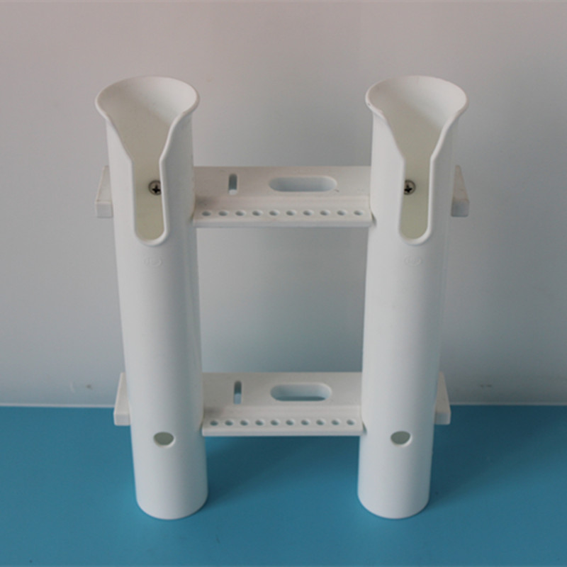 2 Tube Side Rail Mount Plastic Fishing Rod Holder Tool Storage Rack Marine Boat Fishing White