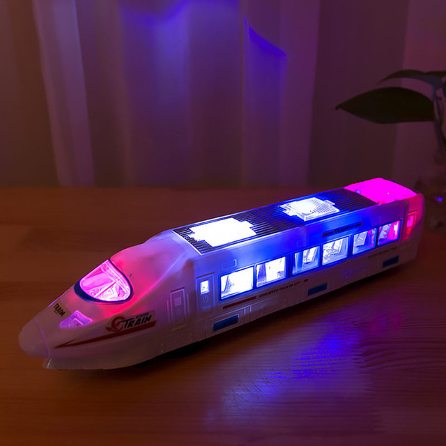 Muqgew Plastic Birthday Presents Beautiful White Lightning Electric Train Toy For Kids With Music Changes Directions 5 6