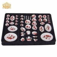 Dollhouse Miniature 1:12 strawberry dishs set tableware Porcelaine 50 pcs