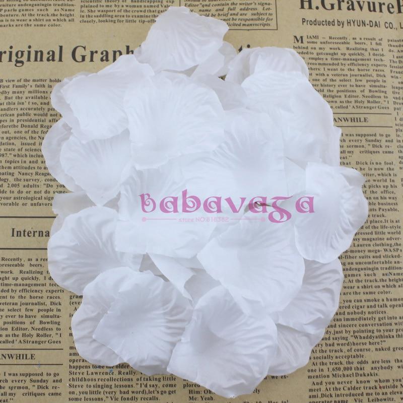 1000pcs Snow White Silk Rose Petals Flower Wedding Banquet Supply Decoration