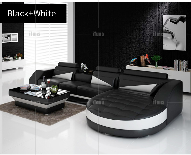 Online Shop IFUNS black u0026 white modern european furnitureluxury quality leather sofasl shape sectional sofa set | Aliexpress Mobile : black white sectional - Sectionals, Sofas & Couches