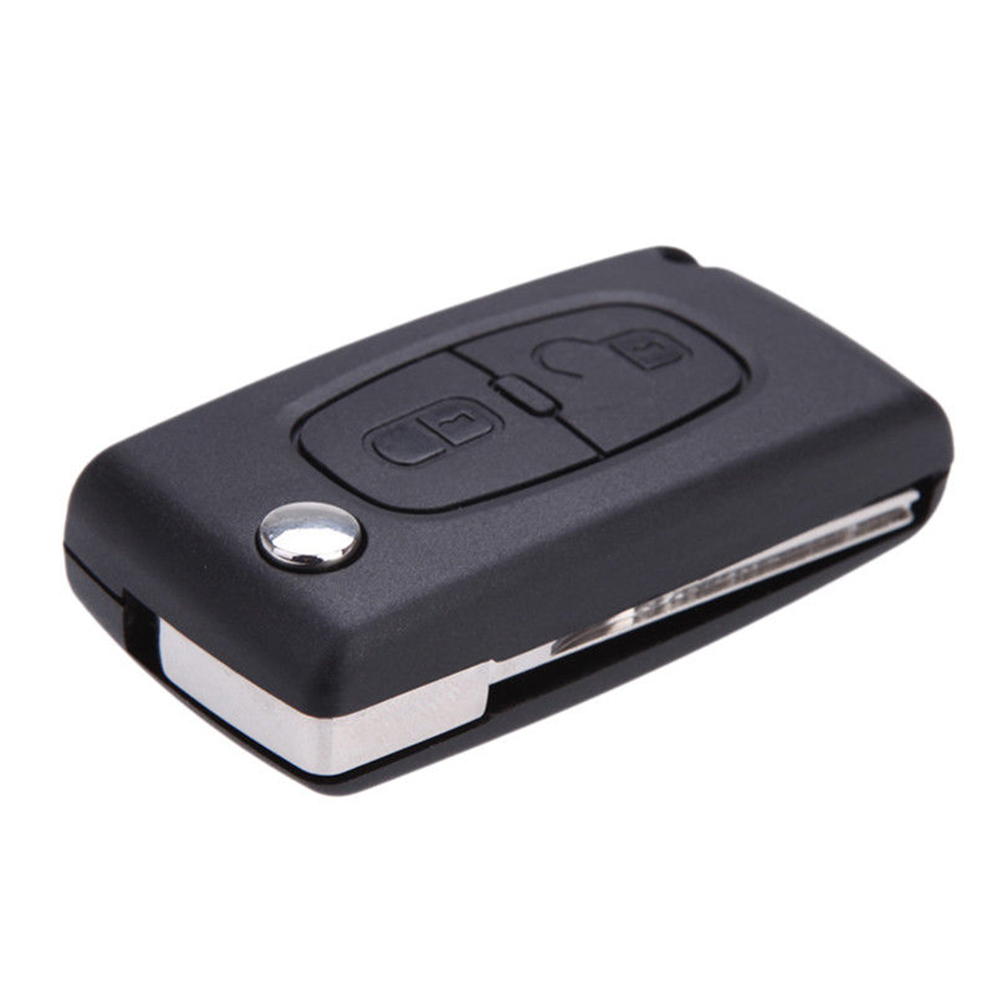 2 Button Key Fob Case Flip Foldable Remote Control <font><b>Cover</b></font> Blade Accessories Replacement Car For <font><b>Peugeot</b></font> 207 307 <font><b>308</b></font> 407 image