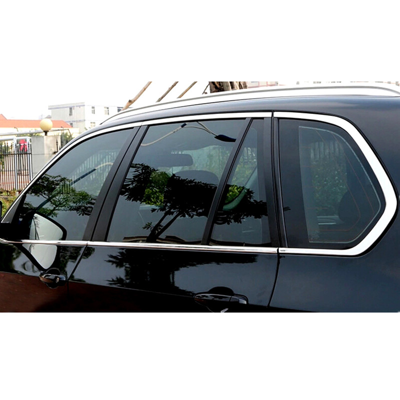 Car styling!For BMW X5 E70 2009-2013 Stainless steel Full Window Without Center Pillars Frame Sill Cover Trim 10pcs car styling stainless steel center control panel switch cover decoration for audi a4 b9 q5 8r 2009 2010 2014 2015 car styling