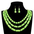 4 color beads Africanos Joyería Set 2016 Nueva moda accesorios de Boda nupcial declaración gargantilla Collar/pendientes para las mujeres