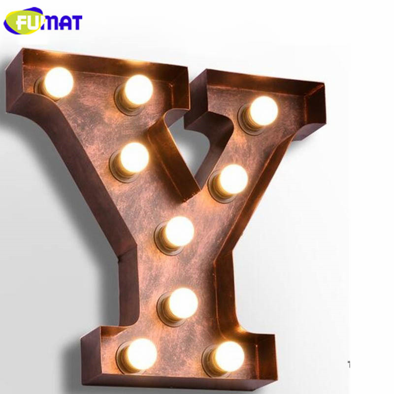 FUMAT Letters Y Wall Lamps Vintage Alphabet Lights Dinning Room Wall Sconce Bedroom Living Room Art Deco Lamp Letter E27