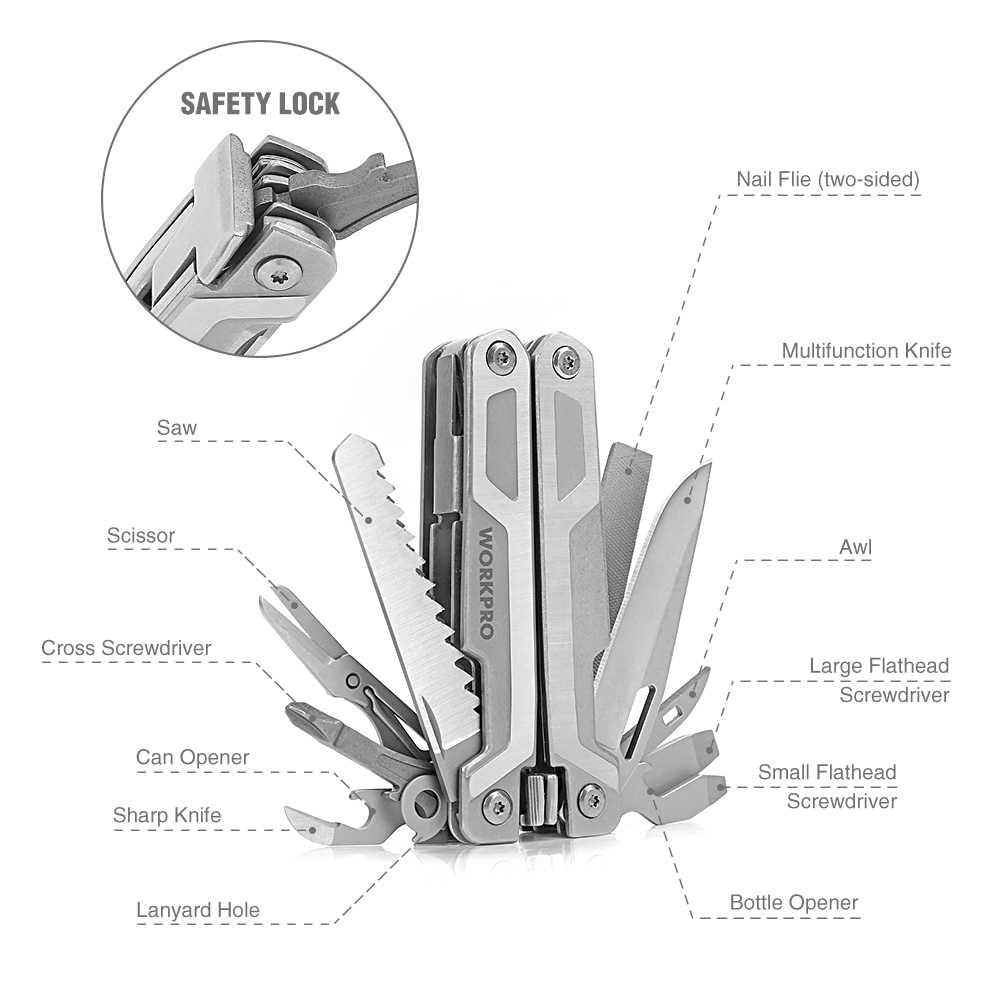 Многофункциональный инструмент WORKPRO 15-в-1 карманный инструмент многофункциональные плоскогубцы пила Резак для проводов для EDC утилита из нержавеющей стали инструменты для зачистки проводов
