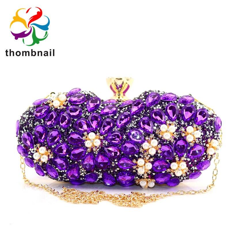 Socialite Light Purple Women Crystal Evening Purse Handbag Formal Dinner Bridal Wedding Party Diamond Clutch Bag