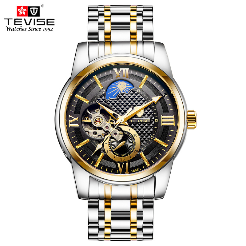 TEVISE Men Automatic Self-Wind Mechanical Wristwatches Stainless Steel Moon Phase Luxury Watch Clock with Sub Second Dial T805C triple dial hour second week display automatic mechanical watch for men tevise 356