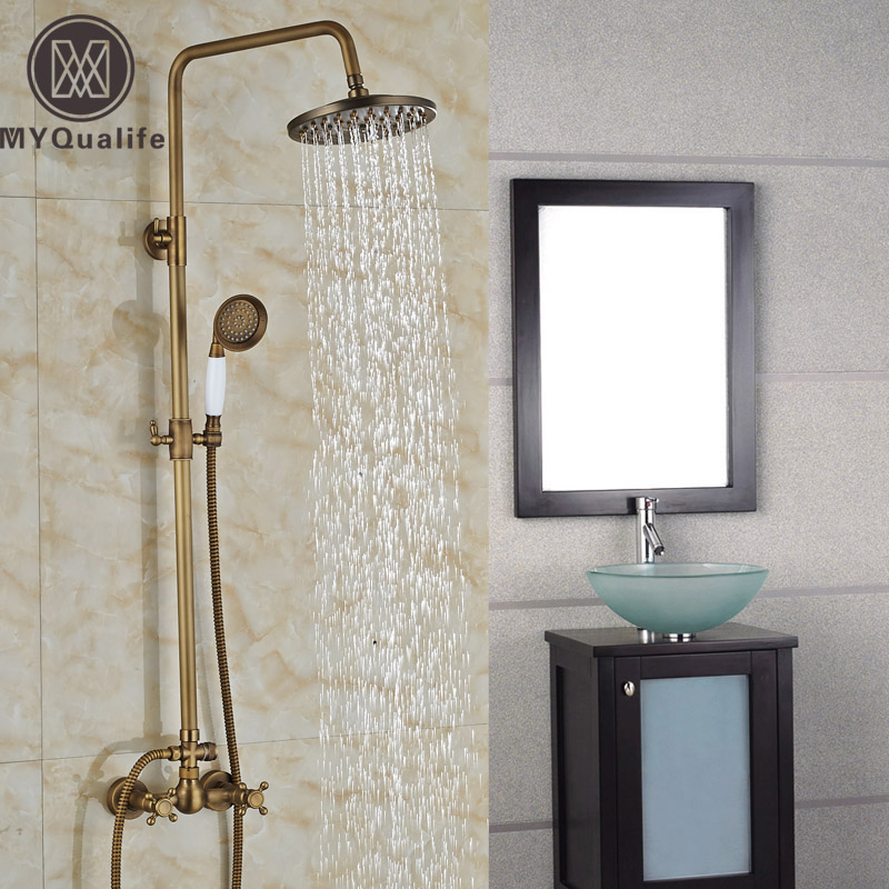 Luxury Brass Bathroom Surface Mounted Shower Faucet Set Wall Mount ...