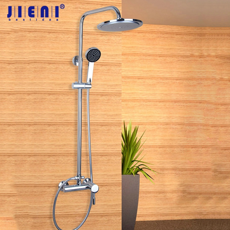 Bathroom NEW 8 Square Rainfall Shower Faucet Set Tub Mixer Tap with Hand Spray Shower Set Faucets