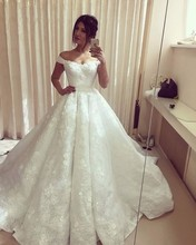 Vestido De Novias Lace Flowers Sweetheart Wedding Dress 2016 A line Cap Sleeves Wedding dresses Chapel
